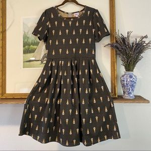 LuLaRoe Amelia Dress Fit and Flare Back Zip Midi